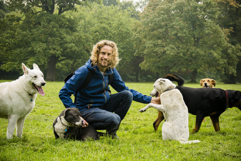 Roedeltherapie - Maikel met roedel hondenopvang-min